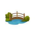 wooden arch bridge with railings footbridge over vector image vector image