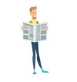 young caucasian businessman reading newspaper vector image vector image