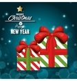 greeitng merry christmas with gift box and shiny vector image