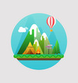mountains summer landscape concept with flat vector image