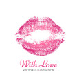 a bright pink imprint of the lips vector image