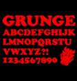 alphabet in red grunge style devil designed vector image vector image