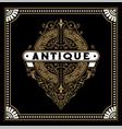 antique logo with baroque ornaments vector image vector image
