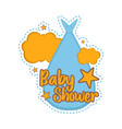 baby shower label with a stork carry bag vector image