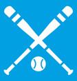 baseball bat and ball icon white vector image vector image