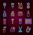 beauty neon icons vector image vector image