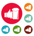 beer in hand icons circle set vector image vector image