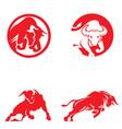 bull logo and clip art set vector image vector image