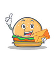burger character fast food with envelope vector image vector image