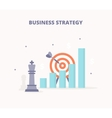Business strategy Chess king target bar chart vector image vector image