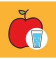 cartoon cup glass water with apple fruit vector image