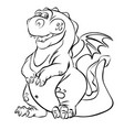 cartoon dragon line art vector image