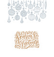 christmas greeting card with hanging outline vector image