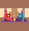colorful of two men who smoke hookah vector image vector image