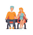 couple watching movie in cinema theater and vector image