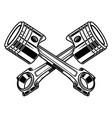 crossed motorcycle pistons design element for vector image