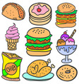doodle of food style various set vector image vector image