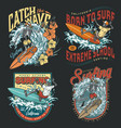 extreme surfing vintage colorful logos vector image vector image