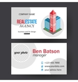 Flat isometric city real estate business card