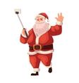 Full length portrait of Santa making selfie vector image