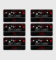gift cards with hanging gift boxes red and black vector image vector image