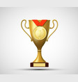 gold medal and cup for the winner vector image