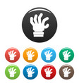 hand fear icons set color vector image vector image