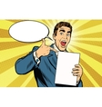 Happy male with the document or diploma vector image vector image