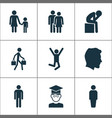 human icons set with male couple user and other vector image