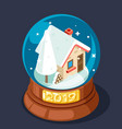isometric 2019 christmas winter snow covered homel vector image vector image