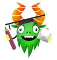 monster with pen and envelope on white background vector image vector image