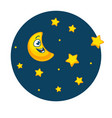 night sky full stars and with young moon vector image