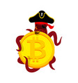 octopus web pirate and bitcoin hacker thief and vector image