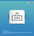 open door sign icon - blue sticker button vector image vector image