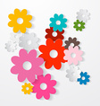Paper Cut Colorful Flowers Set vector image