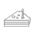 piece of birthday cake line icon vector image