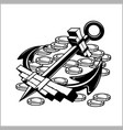 pirate emblem - anchor and coins vector image