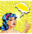pop art woman with thumb up hand gesture vector image vector image