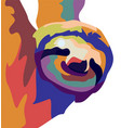 portrait sloth on color abstract vector image