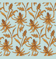 retro floral pattern blue yellow flower seamless vector image vector image