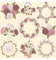 Retro floral wreath and flower bouquet collection vector image vector image