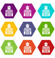sailor icons set 9 vector image vector image