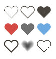 set different hearts icons icon heart in vector image