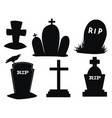 set gravestones collection black grave vector image vector image
