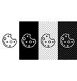 set line chocolate cookies with marijuana leaf vector image vector image