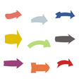 set of nine multicolored various arrows vector image