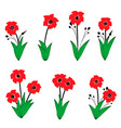 set of red flowers bouquets of red flowers red vector image vector image