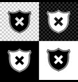 shield and cross x mark icon isolated on black vector image vector image