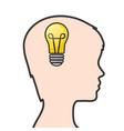 silhouette human head with light bulb in brain vector image vector image