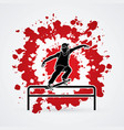 skateboarder doing a grind on rail graphic vector image vector image